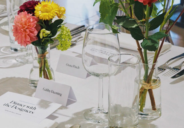 A place setting at Dinner with the Designers 2019