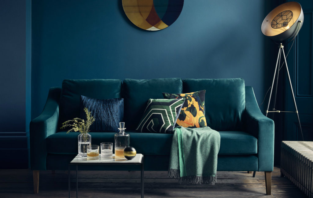 Richmond Sofa in teal velvet upholstery