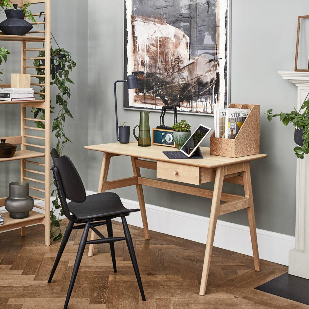 Ercol's Ballatta Desk in a home office