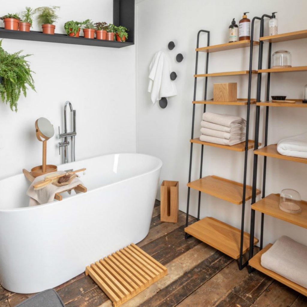Bruenl Lean-To Shelves in a bathroom