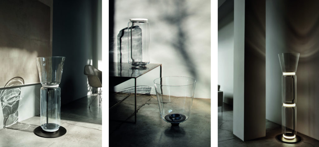 The Noctambule Floor Lamp in various configurations | Image courtesy of Flos