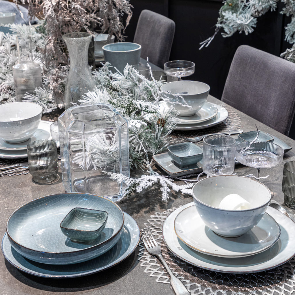 Silver, Blue & Grey Christmas Table Styling