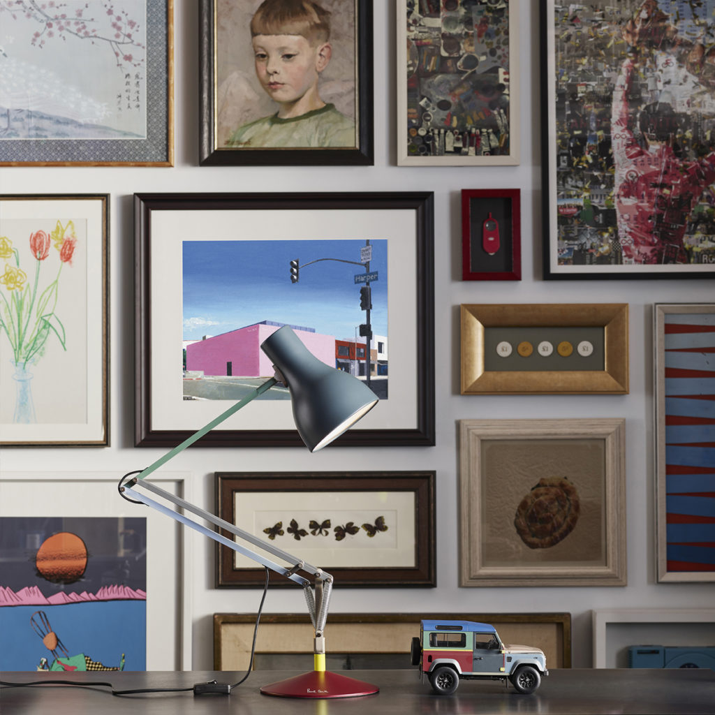 Paul Smith Anglepoise Lamp with a picture wall
