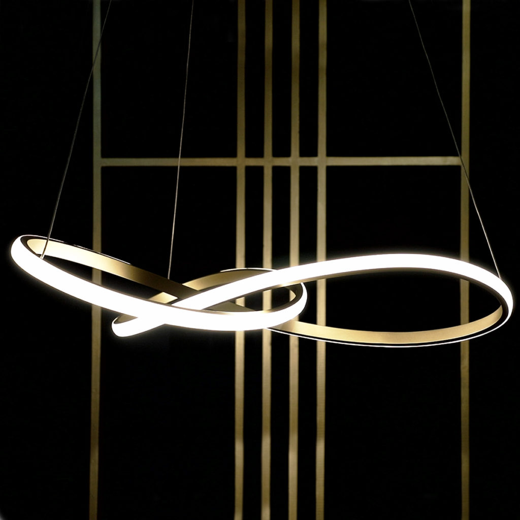 Ribbon Pendant Light with integrated LEDs
