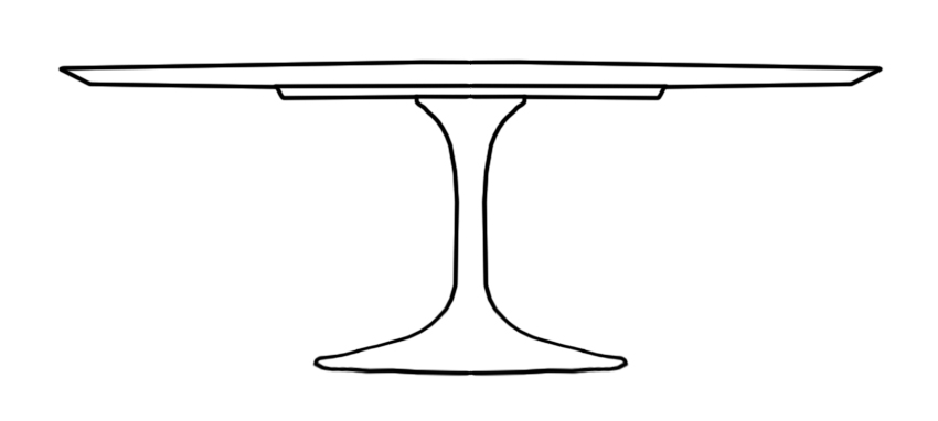 Saarinen Tulip Pedestal Table Line Drawing