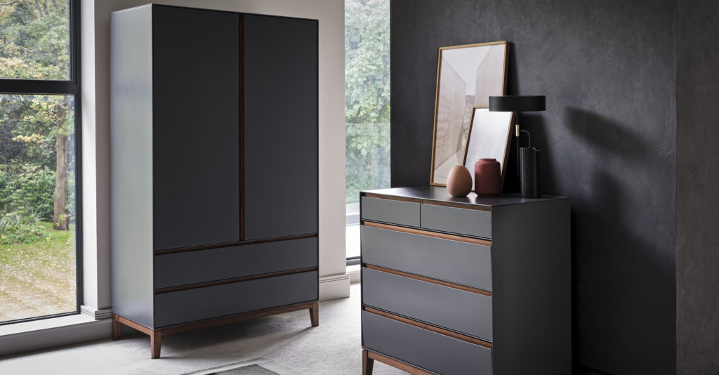 Lifestyle shot featuring cabinets from Says Who's Lars Bedroom Collection
