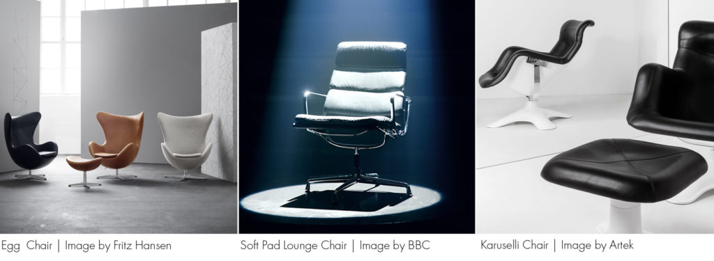 Trio of iconic chairs (L-R) Egg Chair, Mastermind Chair, Karuselli Chair. All featured in the Heal's Furniture Pub Quiz