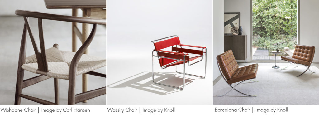 Trio of iconic chairs (L-R) Wishbone Chair, Wassily Chair, Barcelona Chair. All featured in the Heal's Furniture Pub Quiz