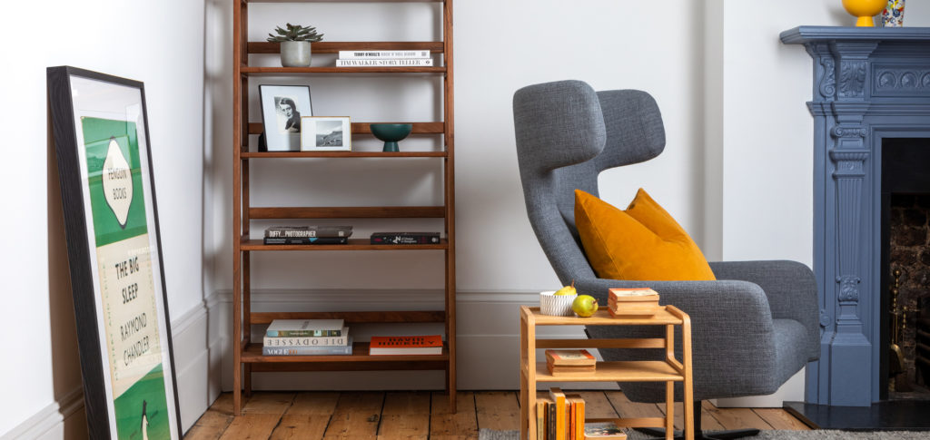 Agnes Shelving Unit in a home library corner