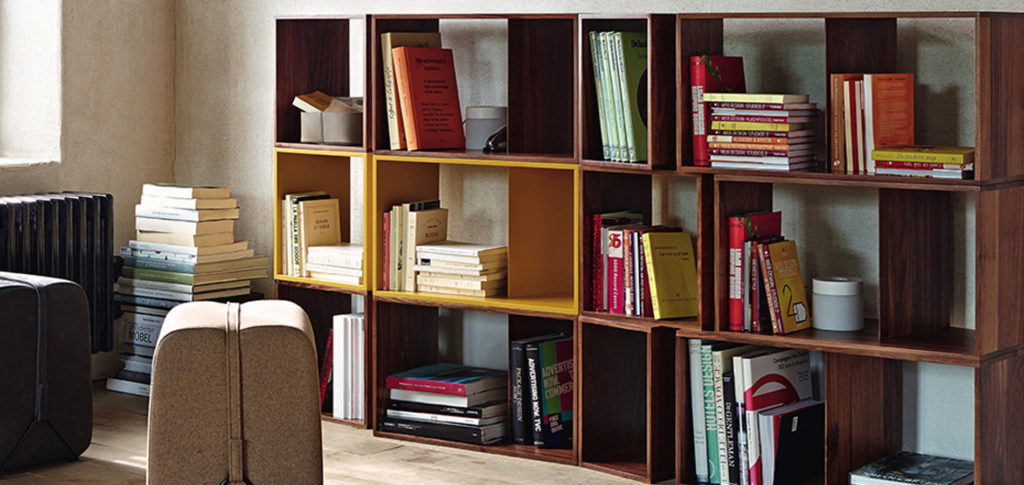 The Cuts Shelving Module in a home library | Image courtesy of Ligne Roset