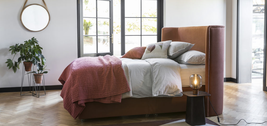Monroe Bed with terracotta upholstery