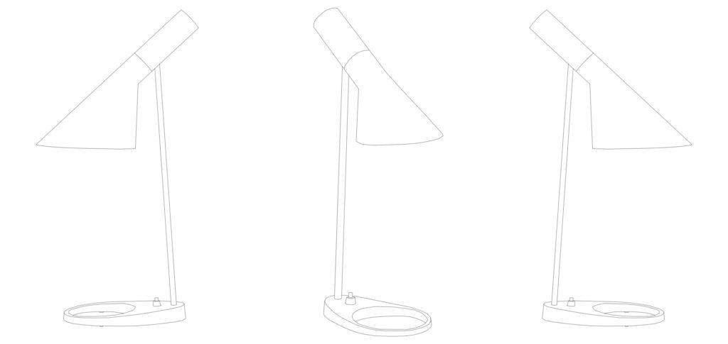 AJ Table Lamp line drawing