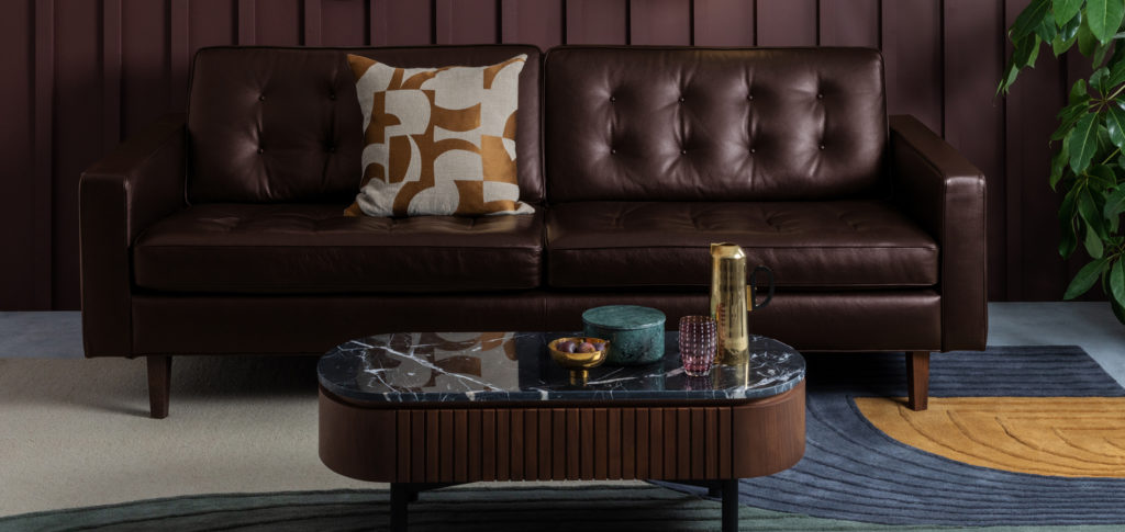 Hepburn brown leather sofa & red walls