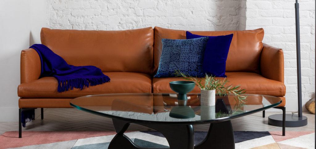 Cobalt and tan Matera Sofa