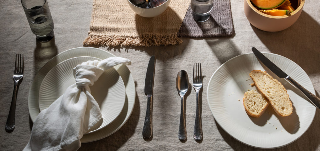 Relaxed breakfast table styling