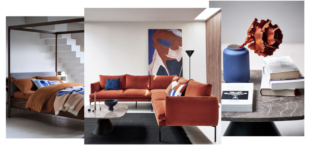 Rust, cobalt and natural hues are all popular AW20 interior design trends