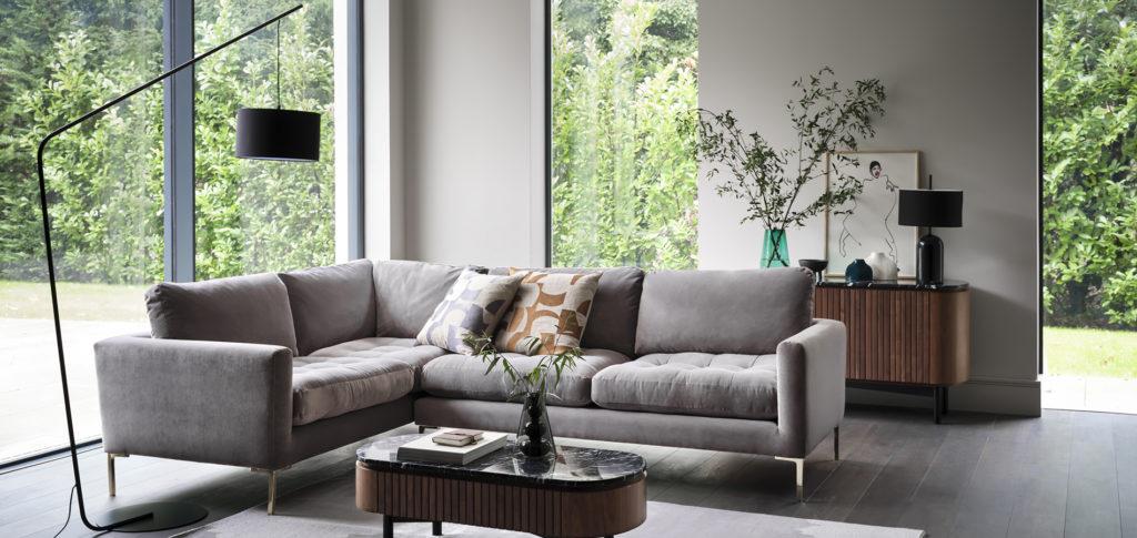 Eton Grey Corner Sofa Living Room Idea