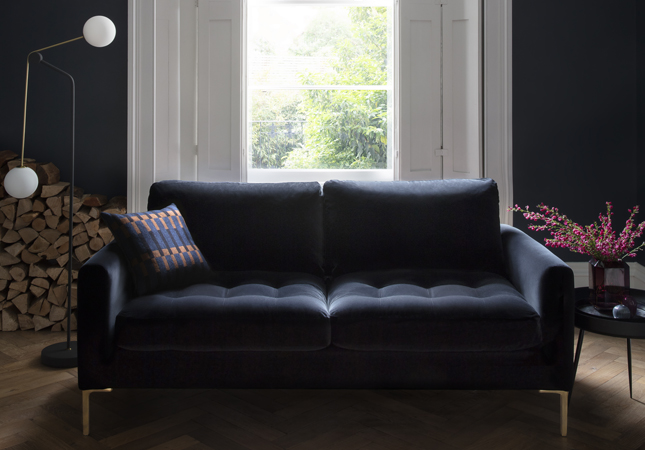 Eton black velvet sofa living room idea