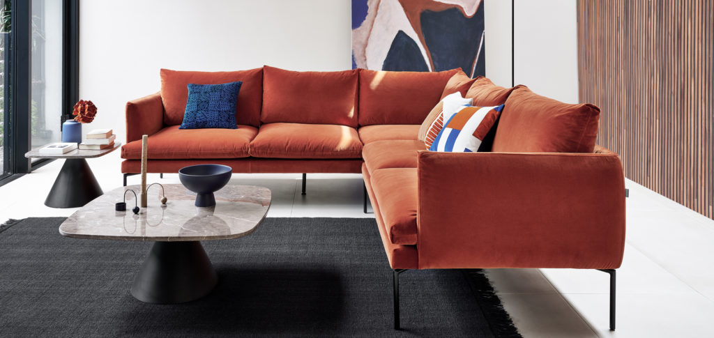 Luna Corner Sofa with rust red upholstery