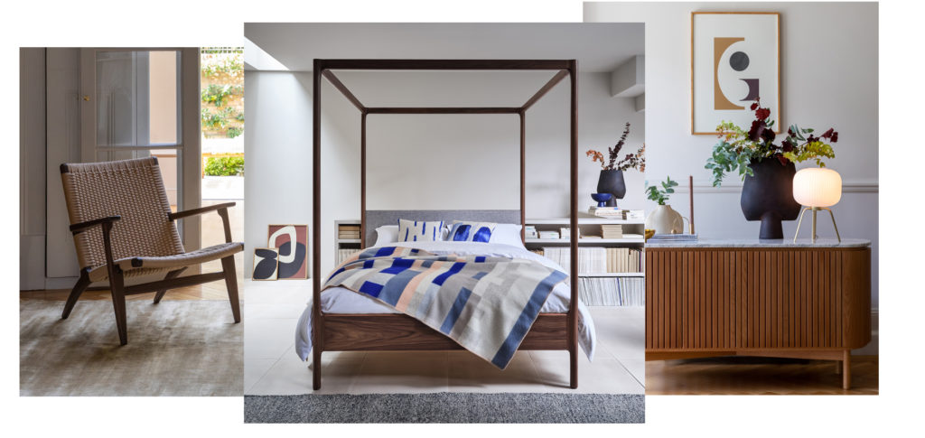 Timeless AW20 designs, including a modern 4-poster bed and a modern sideboard