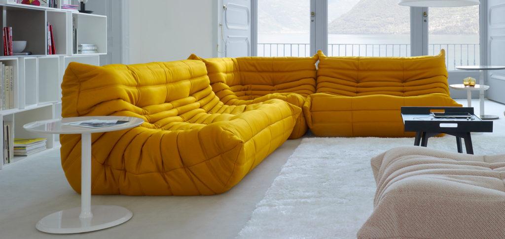 Togo Corner Sofa in bright yellow