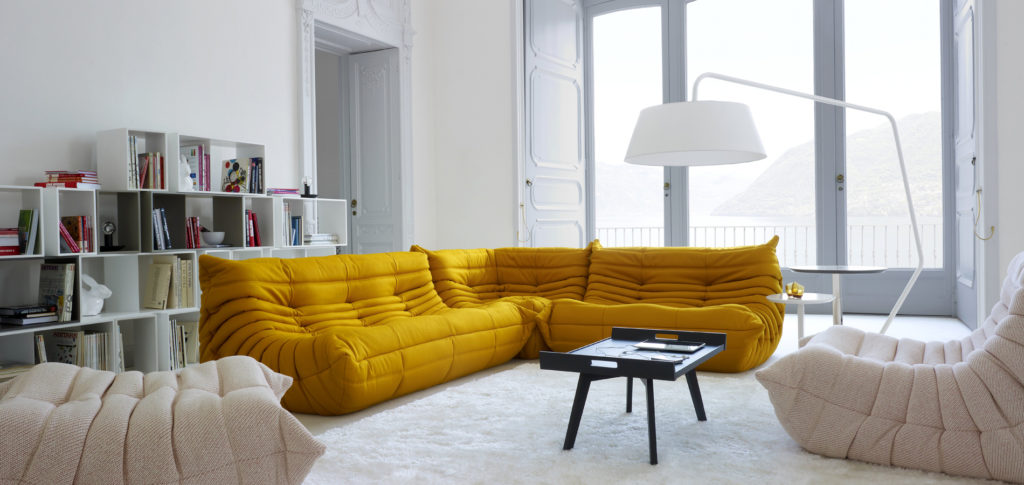 Togo Sofa in a Parisian style apartment | Image courtesy of Ligne Roset