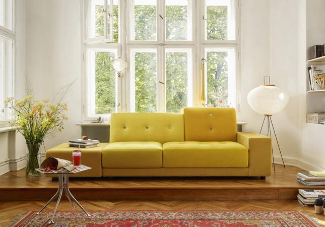 Yellow Polder Sofa and Akari 10A Floor Lamp in a Parisian flat | Image courtesy of Vitra