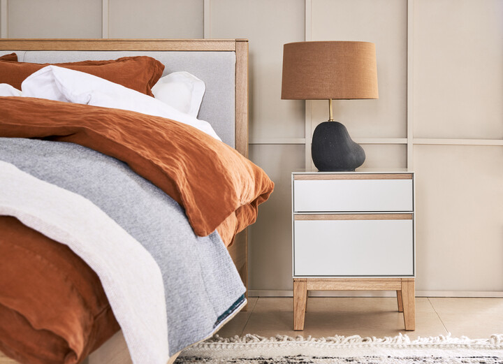 Lars Bedside Table & Hebe Table Lamp