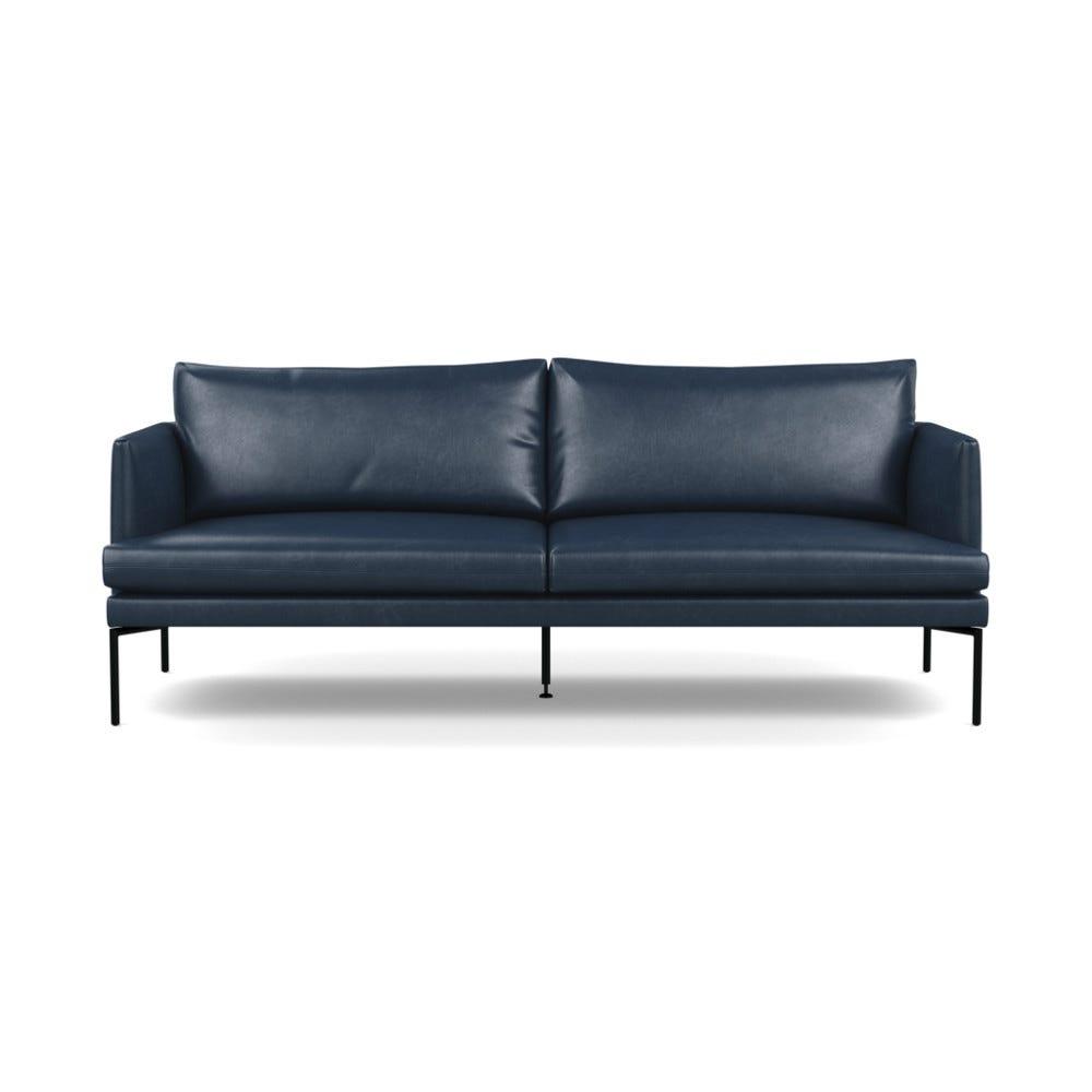 Heal's Matera 3 Seater Sofa Leather Stonewash 279 Navy Blue Black Feet
