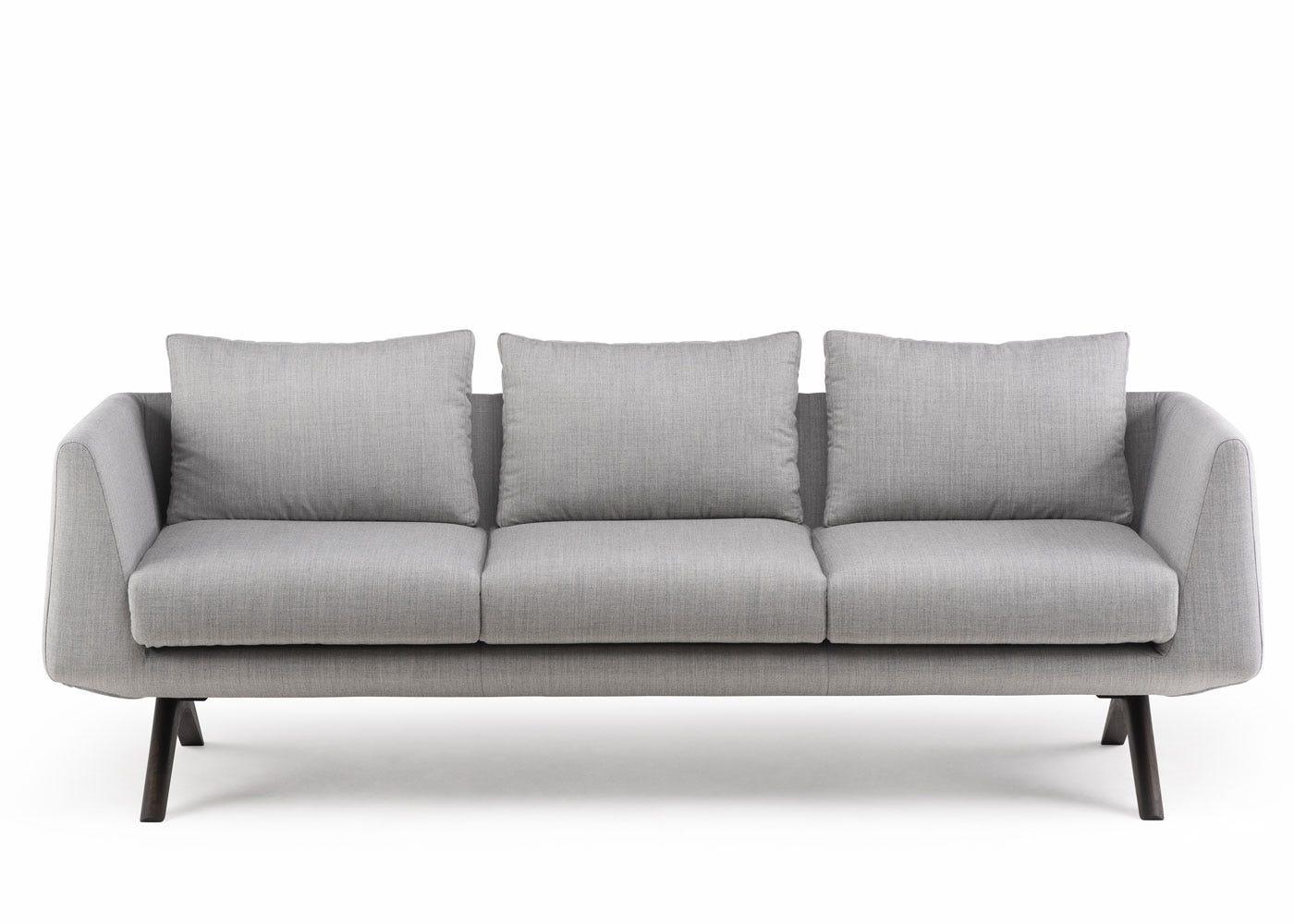 De La Espada Matthew Hilton Hepburn Sofa Black Oiled Walnut Grey Canvas 124
