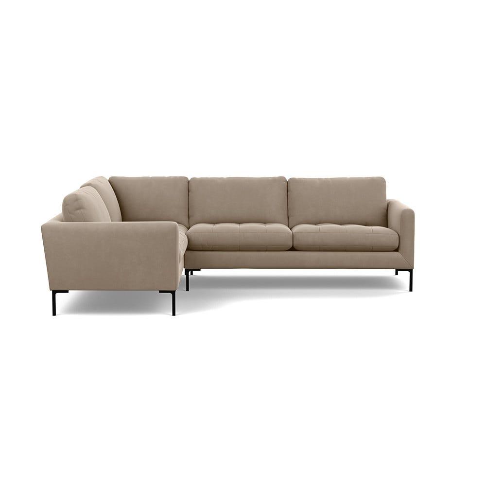 Heals Eton Left Hand Facing Corner Sofa Smart Velvet Dove Black Feet £5,299.00 | Go-furniture.co.uk