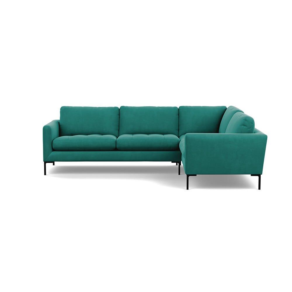 Heals Eton Right Hand Facing Corner Sofa Smart Velvet Green Black Feet £5,299.00 | Go-furniture.co.uk