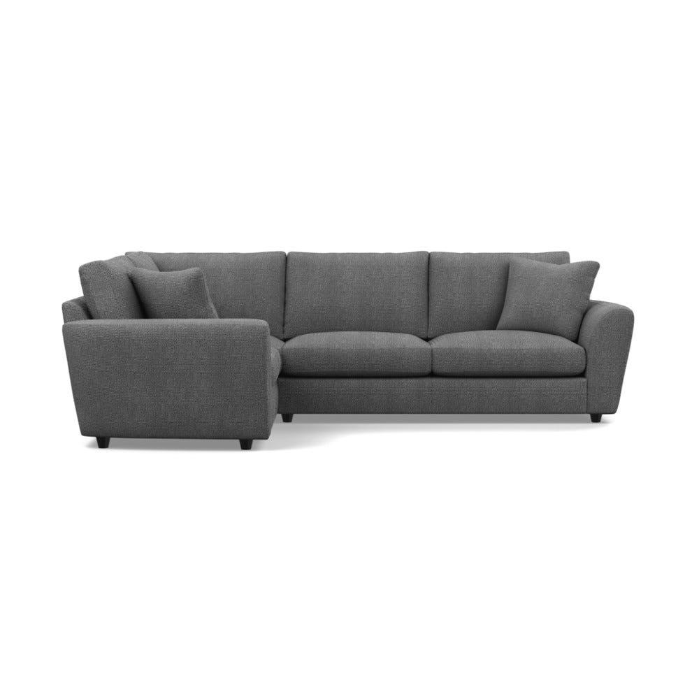 Heals Snooze Left Hand Facing Corner Sofa Tejo Recycled Noir Black Feet £5,349.00 | Go-furniture.co.uk