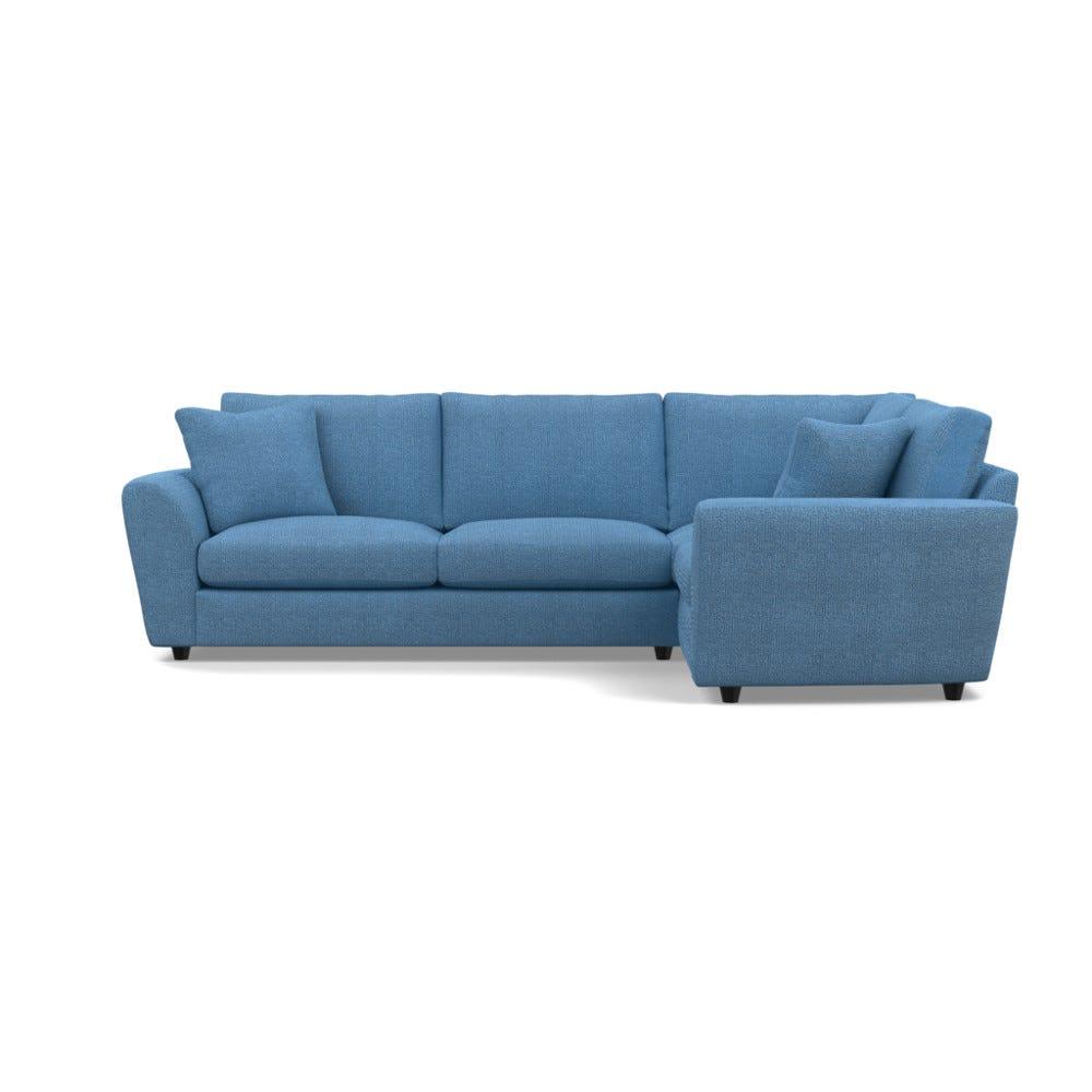 Heals Snooze Right Hand Facing Corner Sofa Tejo Recycled Cobalt Black Feet £5,349.00 | Go-furniture.co.uk