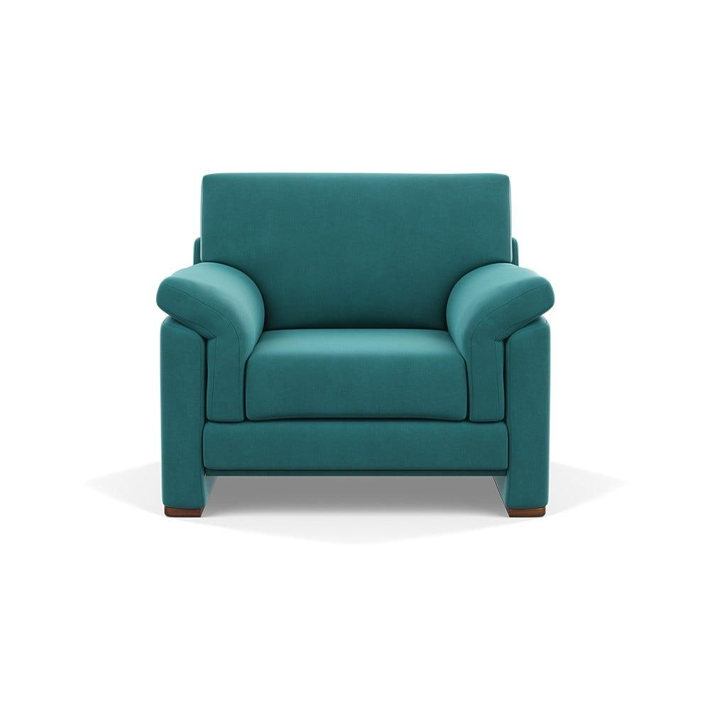 Heal's Paris II Armchair Smart Velvet Turquoise Walnut
