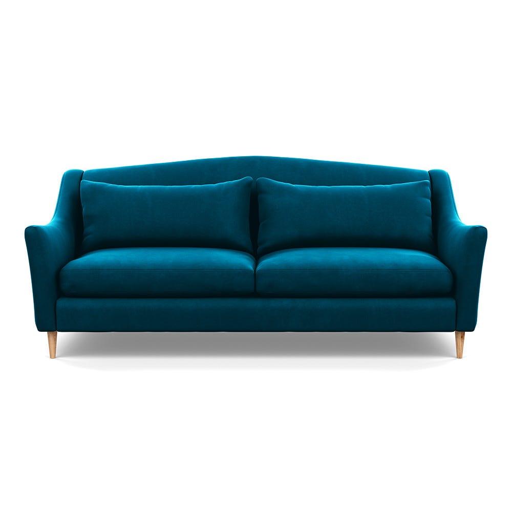 Heal's Somerset 4 Seater Sofa Velvet Teal Natural