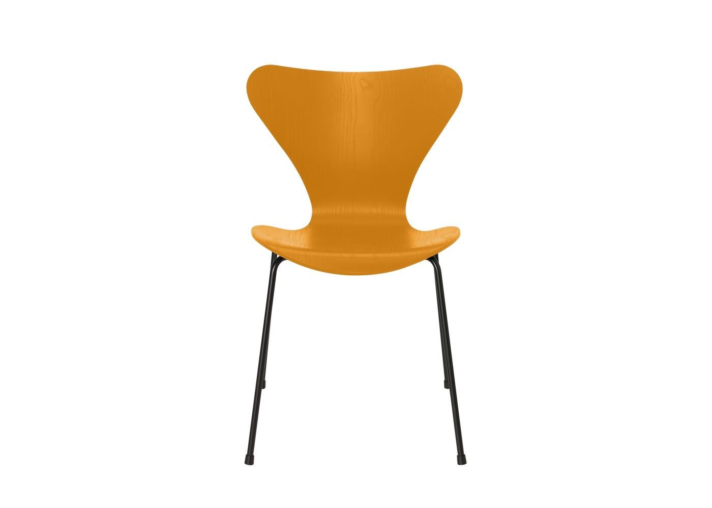 Fritz Hansen Series 7 Chair Coloured Ash Black Legs Burnt Yellow