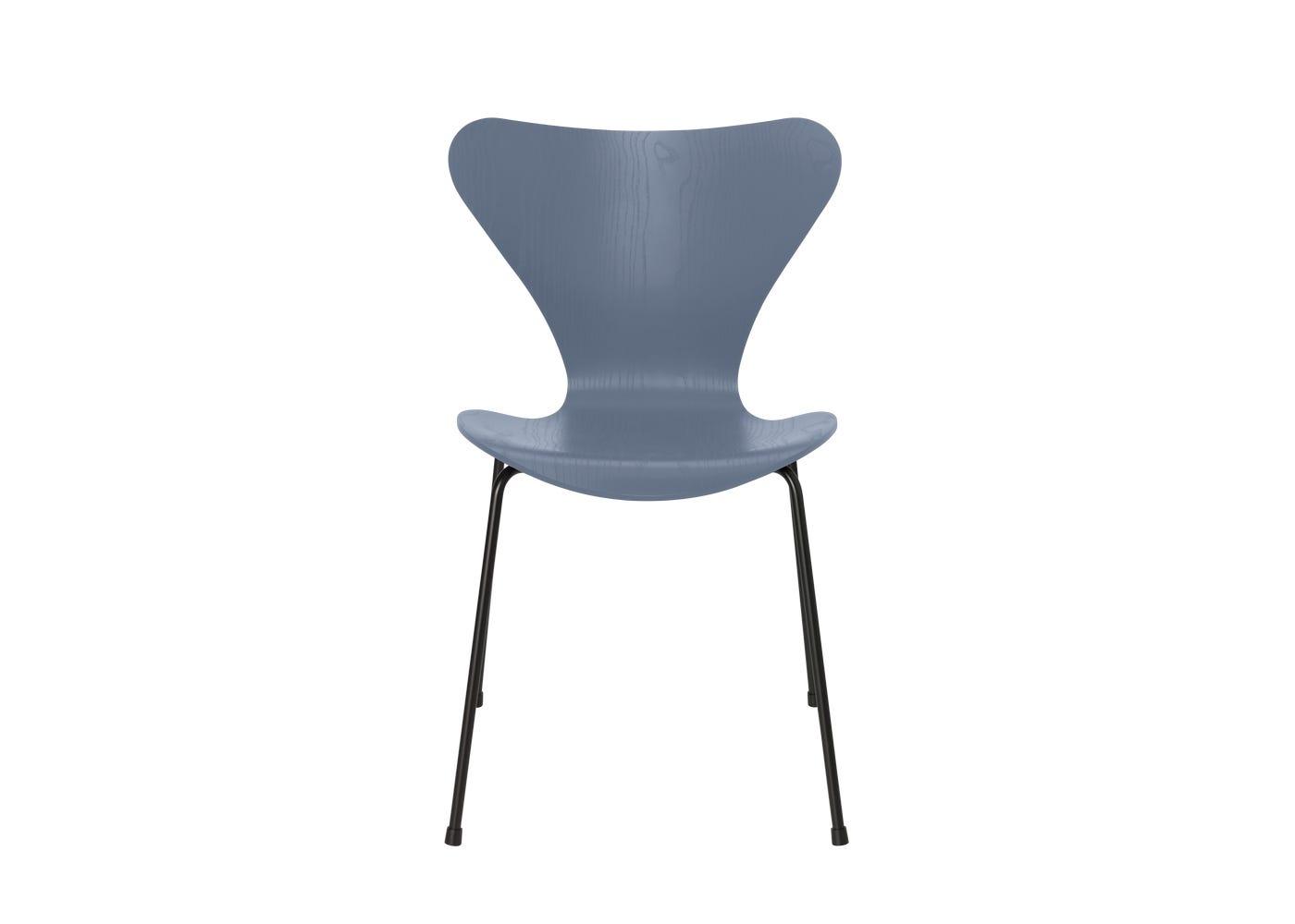 Fritz Hansen Series 7 Chair Coloured Ash Black Legs Dusk Blue
