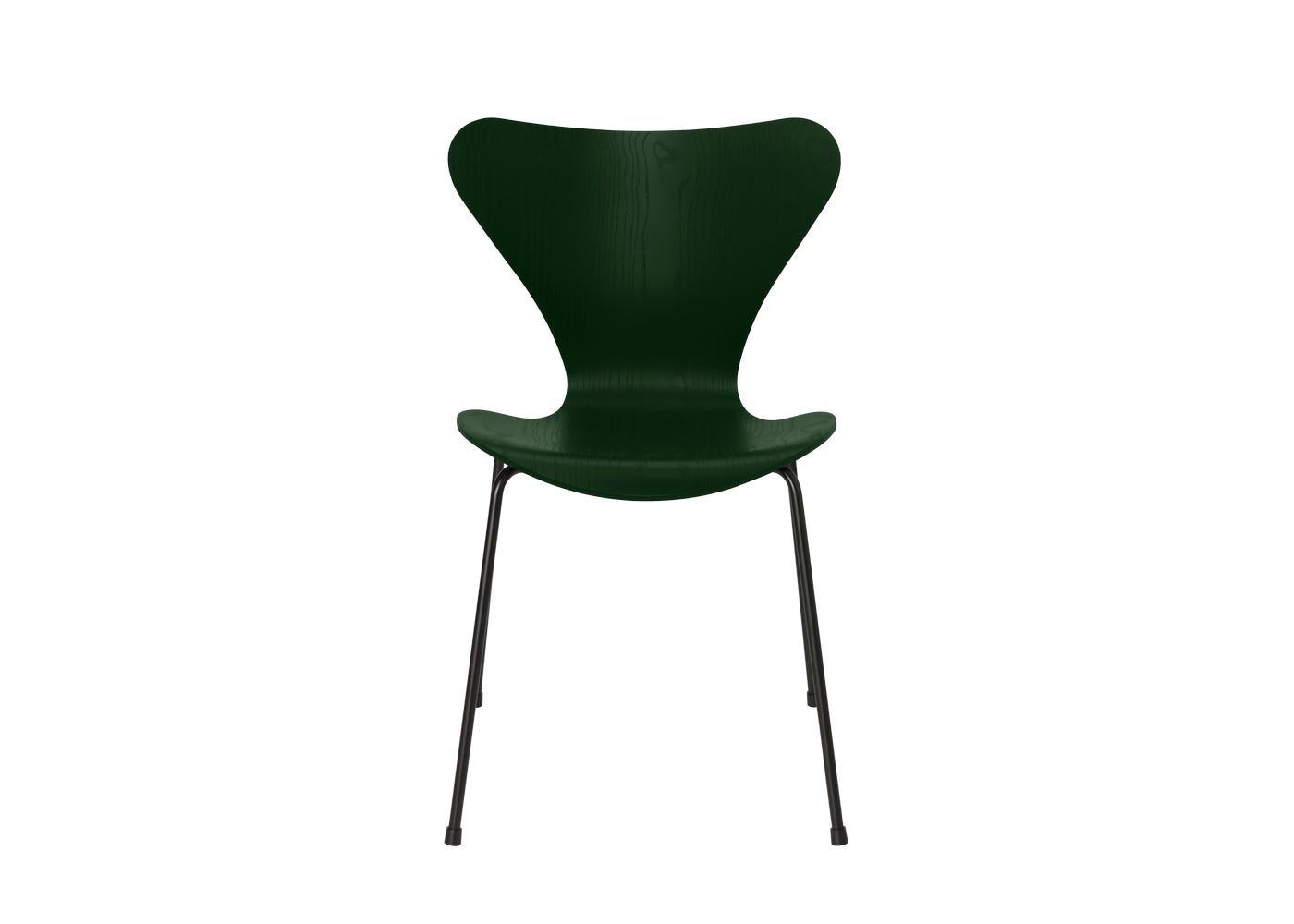 Fritz Hansen Series 7 Chair Coloured Ash Black Legs Evergreen