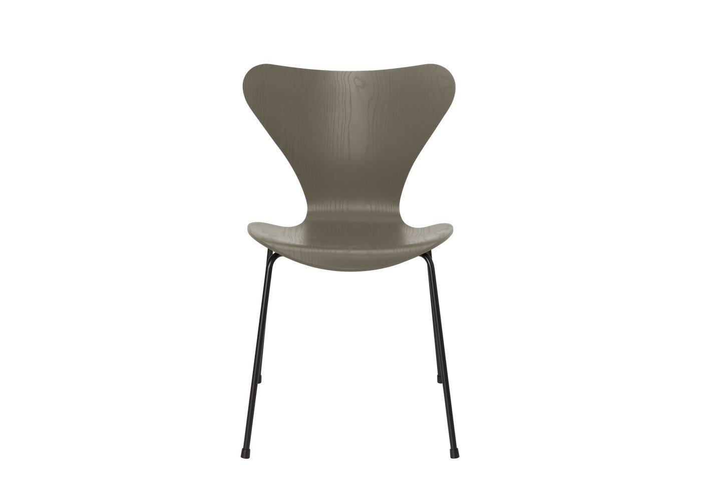 Fritz Hansen Series 7 Chair Coloured Ash Black Legs Oliver Green