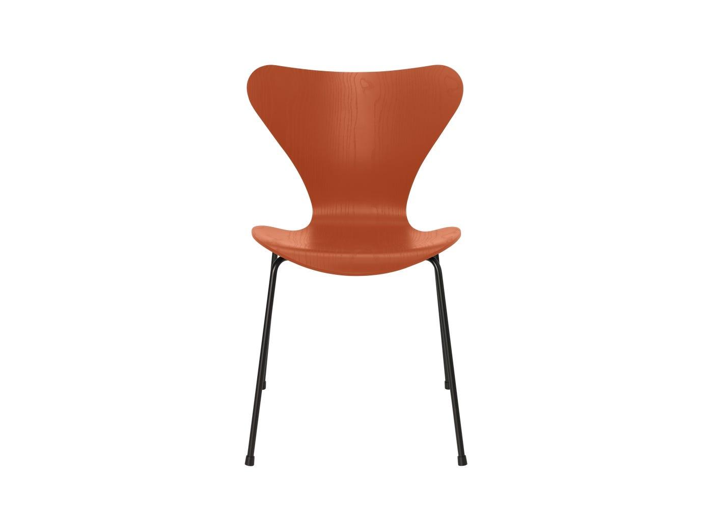 Fritz Hansen Series 7 Chair Coloured Ash Black Legs Paradise Orange