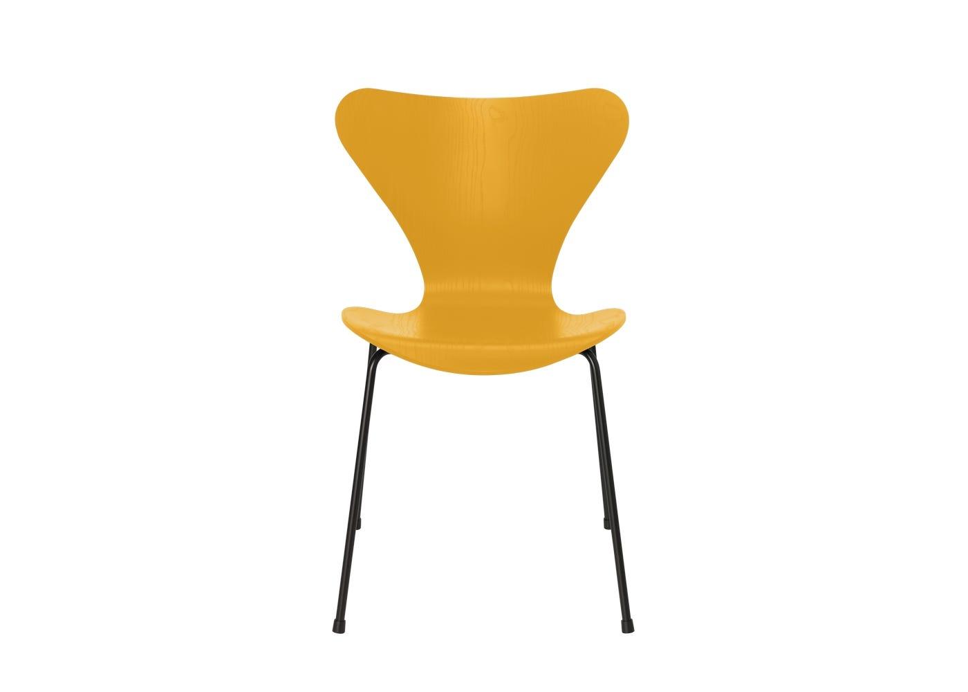 Fritz Hansen Series 7 Chair Coloured Ash Black Legs True Yellow
