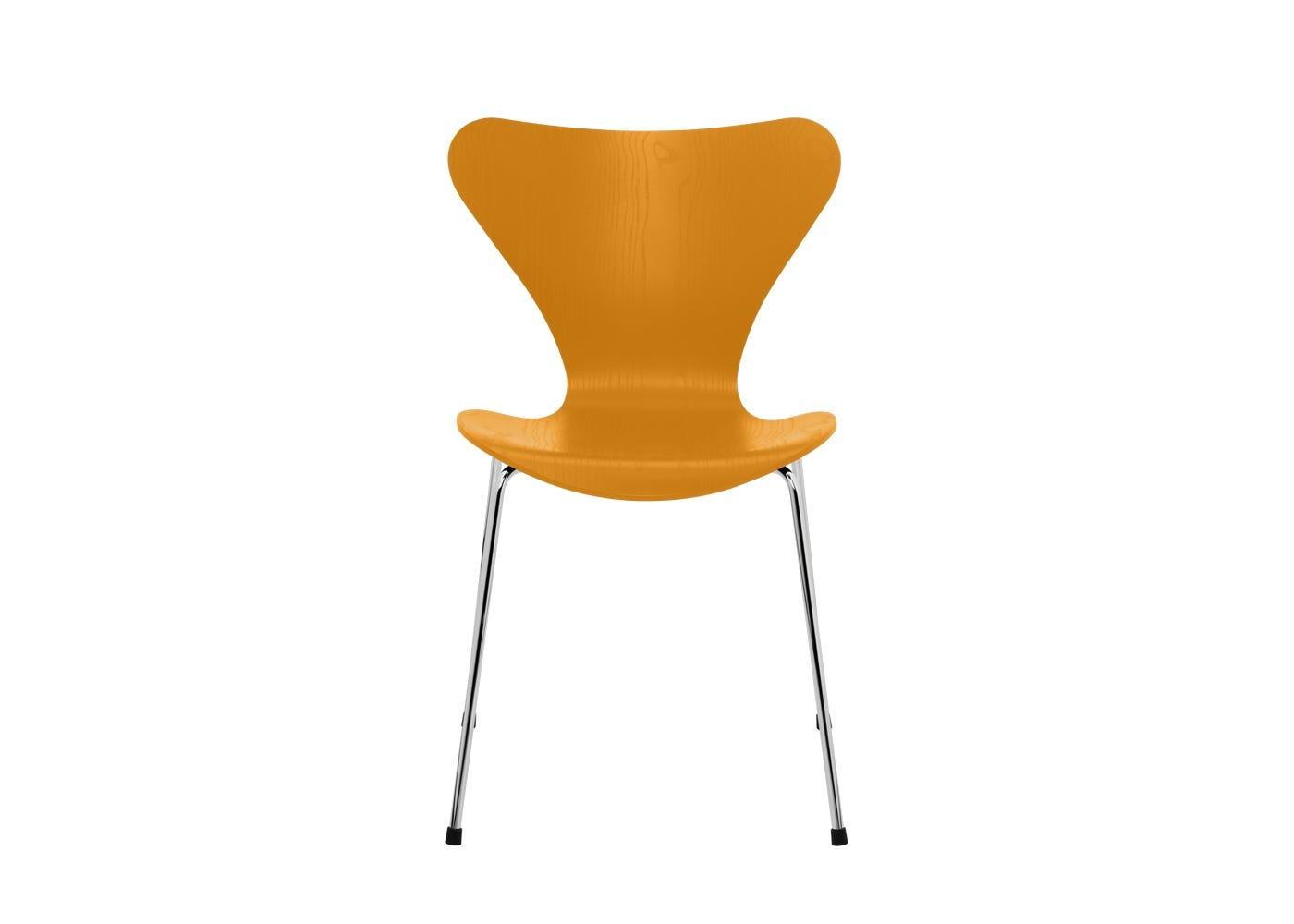 Fritz Hansen Series 7 Chair Coloured Ash Chrome Legs Burnt Yellow