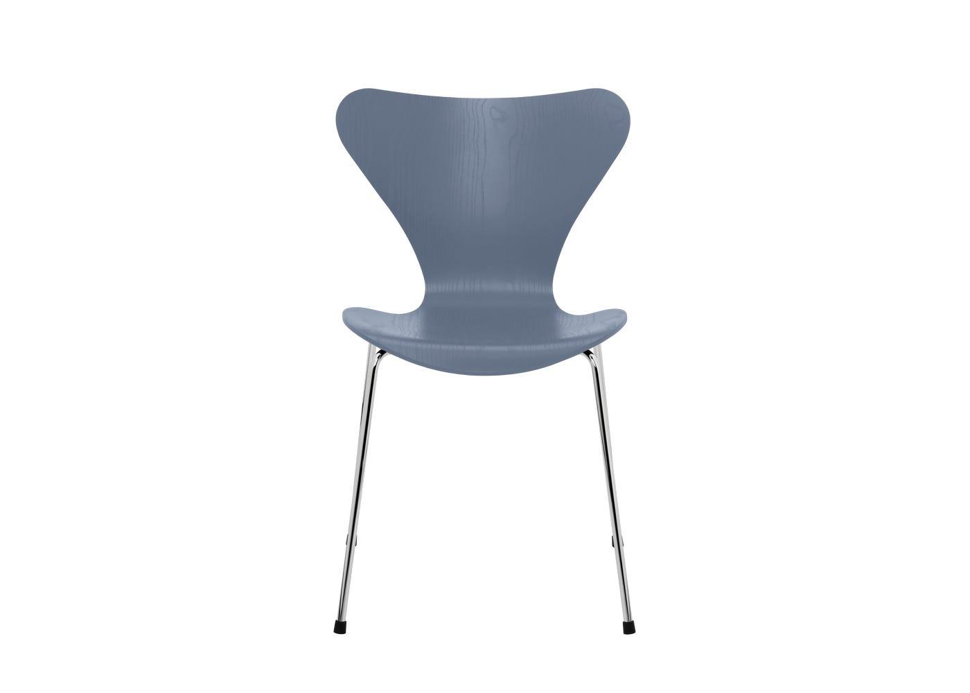 Fritz Hansen Series 7 Chair Coloured Ash Chrome Legs Dusk Blue