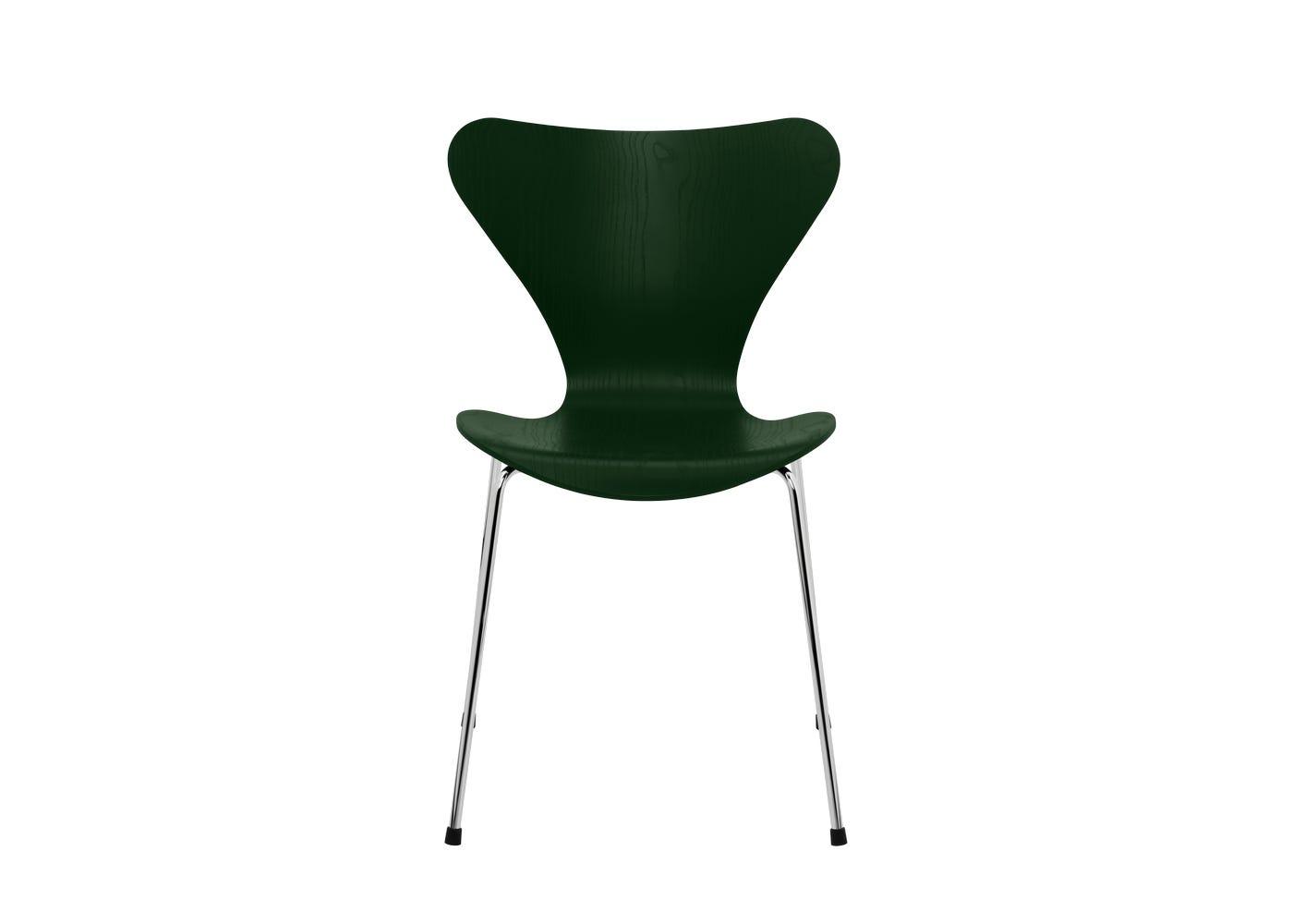 Fritz Hansen Series 7 Chair Coloured Ash Chrome Legs Evergreen
