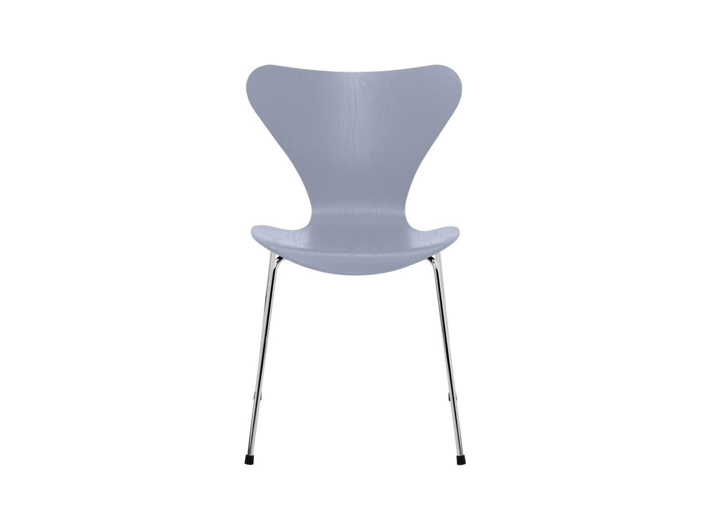 Fritz Hansen Series 7 Chair Coloured Ash Chrome Legs Lavender Blue