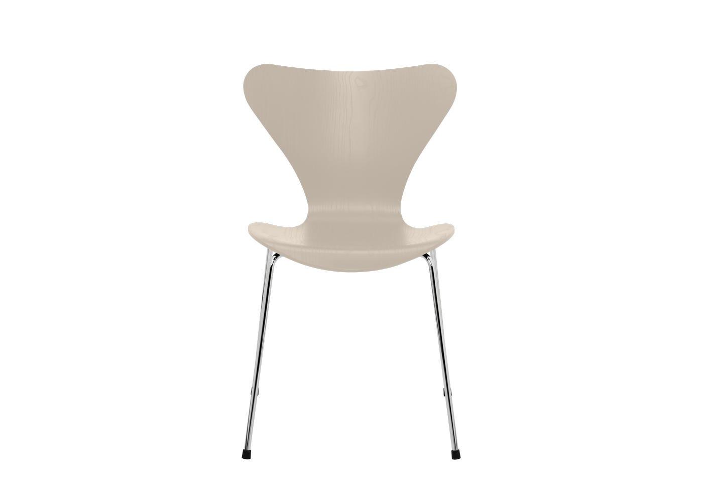 Fritz Hansen Series 7 Chair Coloured Ash Chrome Legs Light Beige