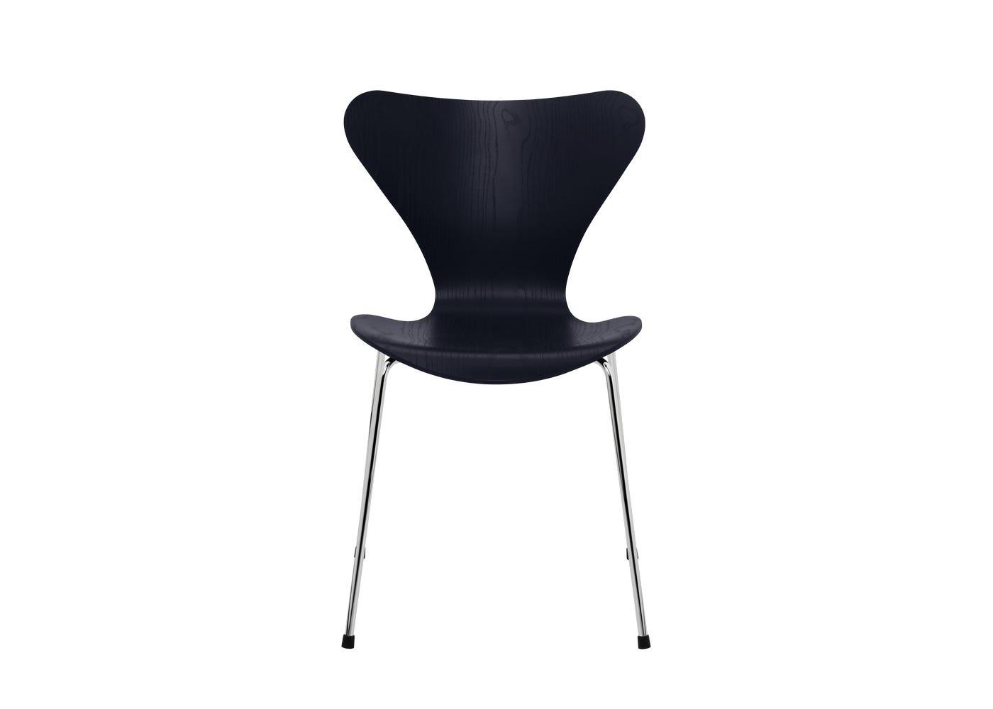 Fritz Hansen Series 7 Chair Coloured Ash Chrome Legs Midnight Blue