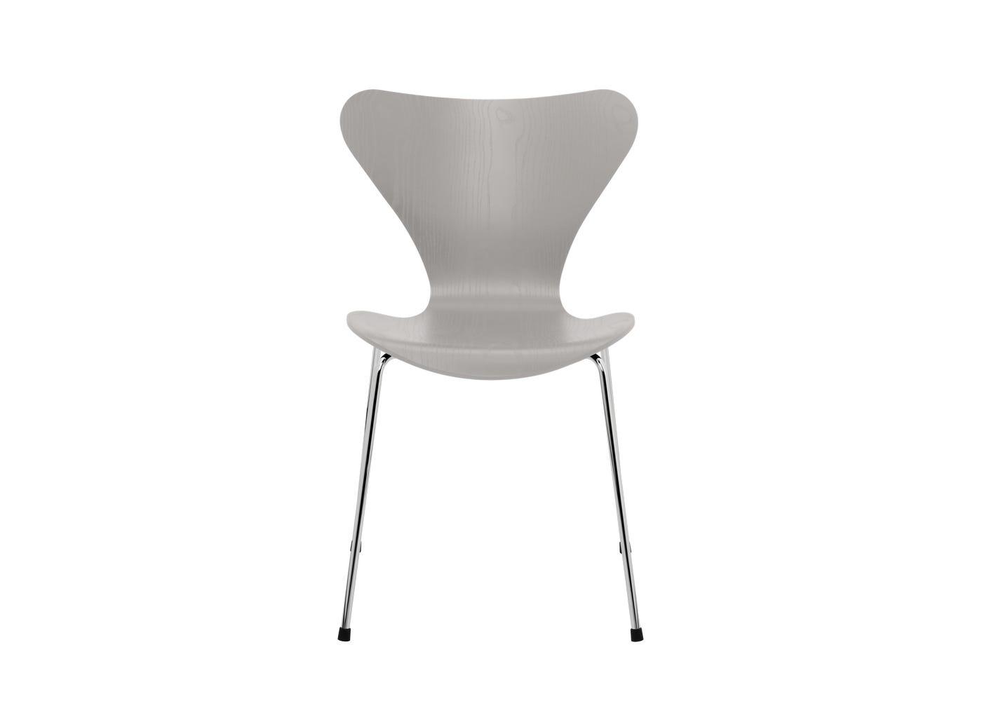 Fritz Hansen Series 7 Chair Coloured Ash Chrome Legs Nine Grey