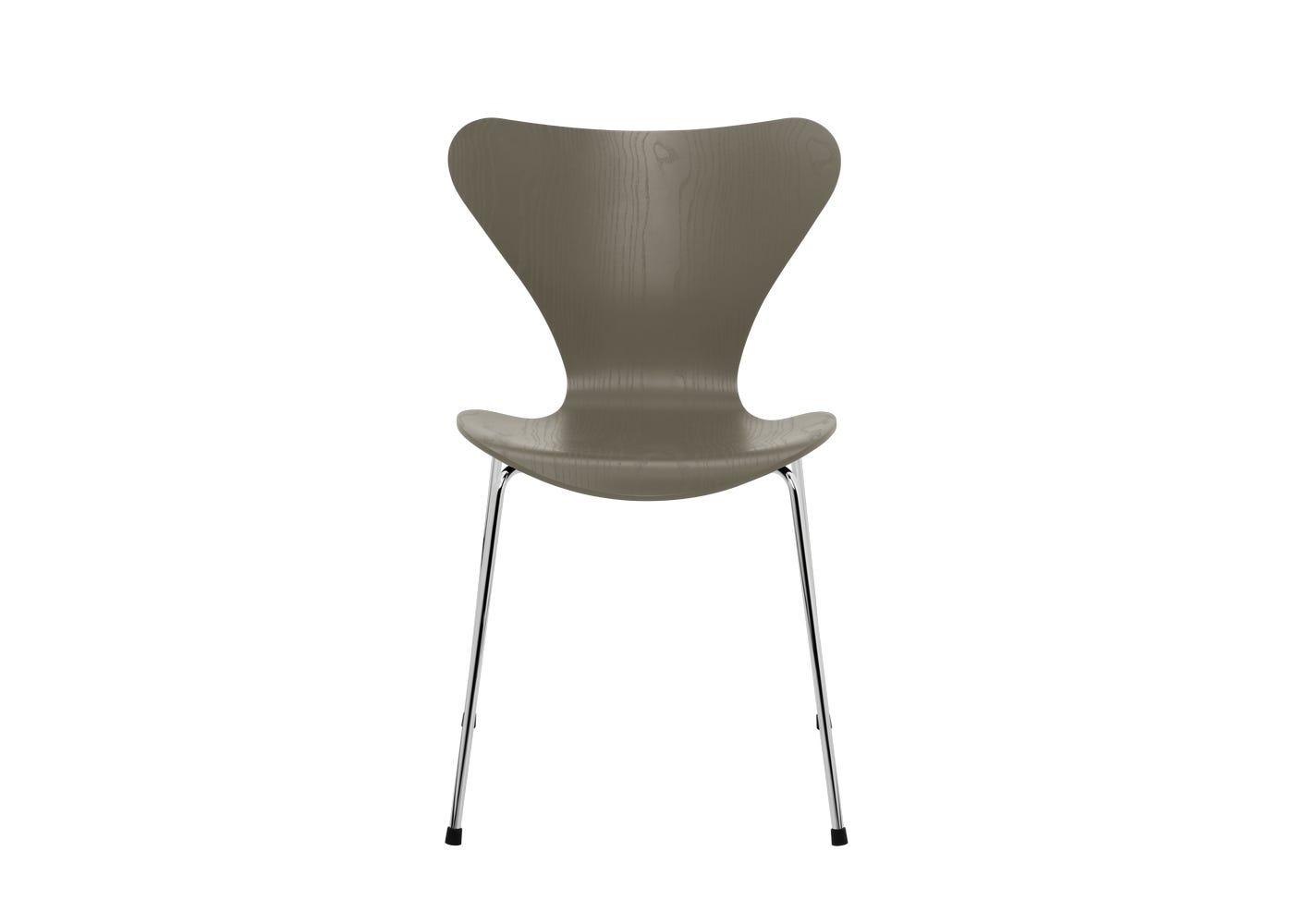 Fritz Hansen Series 7 Chair Coloured Ash Chrome Legs Oliver Green